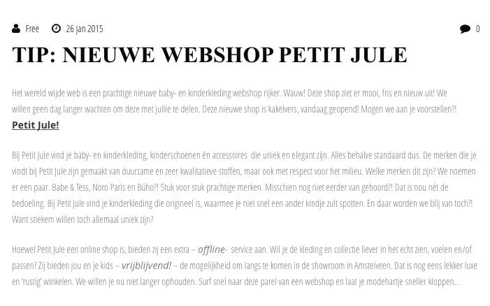 Kinder mode Blog over Petit Jule